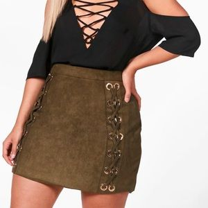 Olive green lace up mini skirt